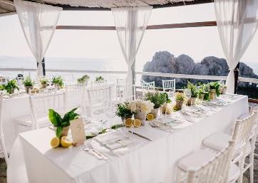 Elegant Wedding reception setting in Capri