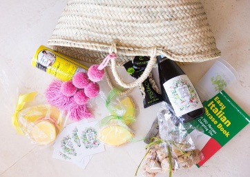 Colorful Wedding welcome bag for the Amalfi Coast