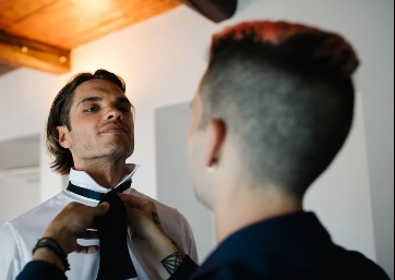 Groom getting ready in Umbria