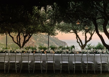 Wedding reception at the sunset in Ravello