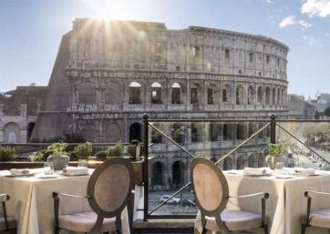 Get Married in Rome at Elegant Hotel Rooftop Restaurant overlooking the Colosseum
